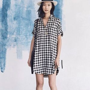 Madewell Black/Cream Checkered Tunic